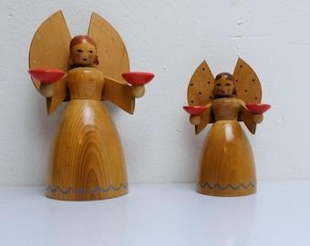 2 angel wooden figure figure Erzgebirge GDR GDR 80s