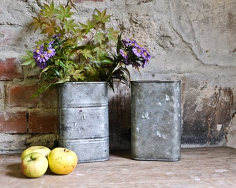 Bespoke container cans jars old upcycled industrial galvanized vase pins box 1