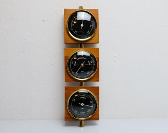Barometer Thermometer Weather Station Mid Century Gdr 60s