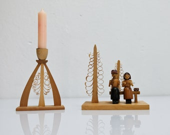 Wooden figure figure Erzgebirge pensioner couple lace supeer retirement candlestick span tree