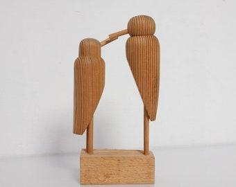 Pair wooden animal bird pair Mid Century figurine GDR