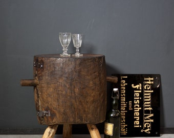 Old Hackstock Stool Side Table Wooden