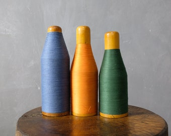 3 large colored yarn coils from a stocking factory coils wooden coils decoration 40er 06