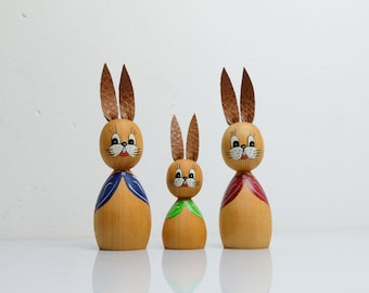 Easter Bunny Couple Figures Orchestra from the 70s Handmade Ore Mountains GDR 4