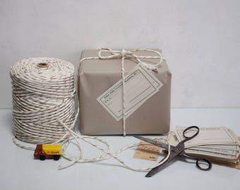 2.2 kg Cord Knitting DDR Gdr Packing Cord Binding Knit Light Brown / White
