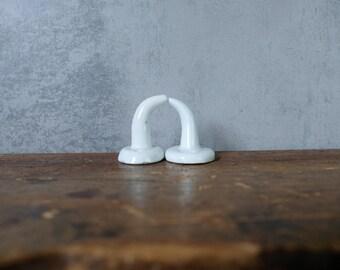 2 small different porcelain coat hooks bathroom wall hook old hat jacket hook brass hook vintage 04
