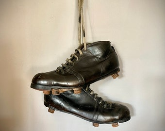 rare football shoes 40s EM Soccer Soccer Ball Vintage leather shoes