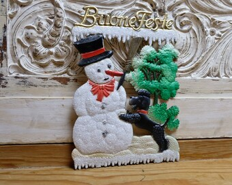 Embossed Christmas Snowman Buone Festive Christmas Decorations Ore Mountains