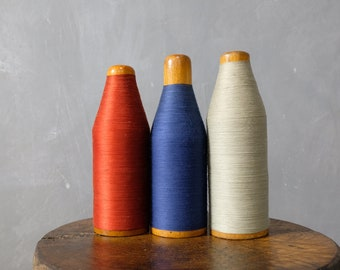 3 large colored yarn coils from a stocking factory coils wooden coils decoration 40er 05