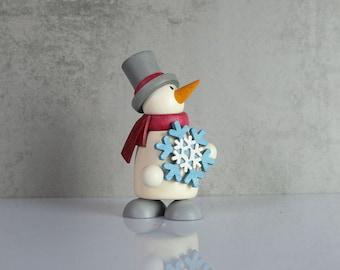 little snowman snowball fight wooden figure figure Erzgebirge Ore Mountains