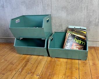 Set of 3 Viewing Boxes Storage Box Shelf Chute Box Metal Boxes Industrial 3