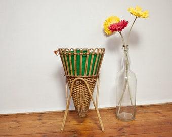 Basket braid 60s Ratan sewing basket danish design