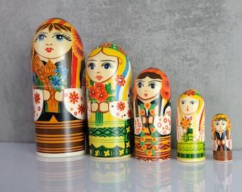 Matrioska Matryoshka Set Dolls Russian Russia 80s