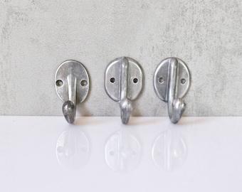 3 different coat hooks aluminum wall hook san old hat jacket hook towel holder vintage Bauhaus a017