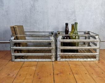 2 wire basket milk box GDR metal box industrial upcycling basket galvanized