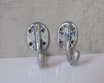 2 vintage coat hooks aluminum wall hook old hat jacket hook towel holder vintage Bauhaus a021