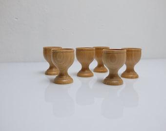 6 Egg Mug Set GDR Folk Art 80s Retro Vintage