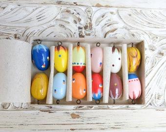 12 Painted Wooden Eggs Easter Eggs Easter Beech Eggs 2