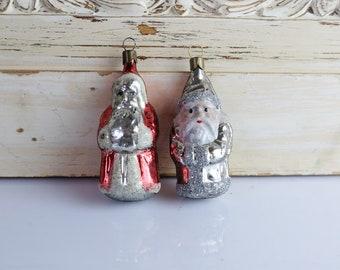 2 x Small Santa Christmas Ball Tree Ornament Christmas Tree Ball Angel Lauscha