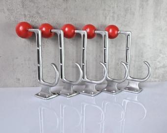 5 Coat Hooks Red Aluminum Wall Hook Old Hat Jacket Hook Brass Hook Towel Holder Vintage Bauhaus a010