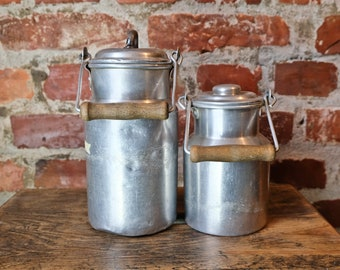 2 Alu Jugs Berry Collector Container Cans Containers Old Upcycled Industrial Vase Pens Box 2