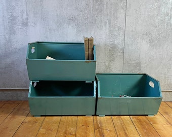 Set of 3 Viewing Boxes Storage Box Shelf Chute Box Metal Boxes Industrial