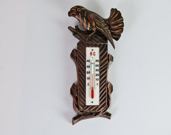 Thermometer Wood Carved Eagle 40s
