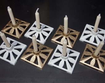 Set of 2 Gold White Christmas Tree Stand Candle Holder Candle Christmas Candle Holder Upcycled 7