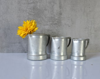 3 Alu Cups Measuring Cup Measuring Cups Container Cans Vessels old Upcycling industrial Vase Pens Box 2