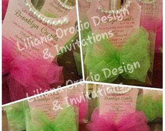 Ballerina Tutu Handmade Invitations