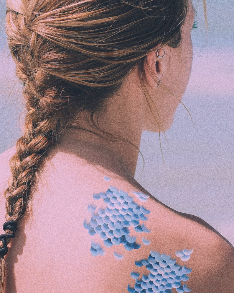 Mermaid Scales Temporary Tattoos  / 2 Sheets / Party Favor / image 0