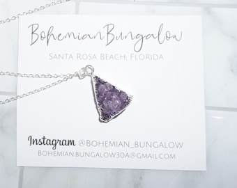 Purple Crystal Necklace on Silver Chain