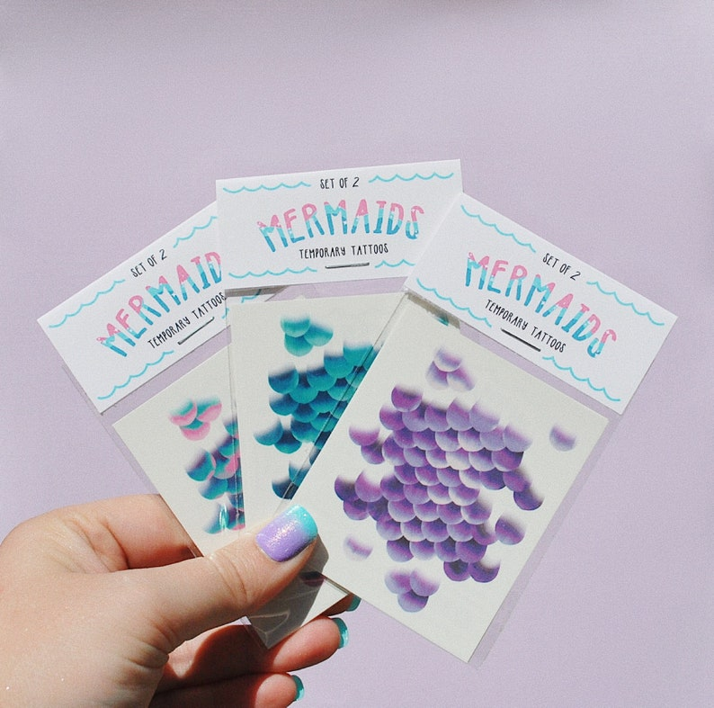 Mermaid Temporary Tattoo Party Favors / Bundle and Save  / 2 image 0