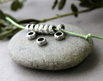 Large Hole Beads - 20 pcs Tibetan Silver Beads - Silver Spacers - Large Hole Spacers - Antique Silver - Metal Spacers - Metal Beads