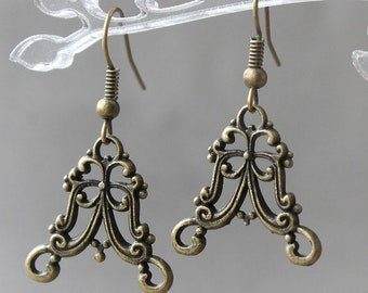 Chandelier Components, 6 pcs Antique Bronze Chandelier Filigree Earring Component, Links, Lead Free and Cadmium Free, Flower