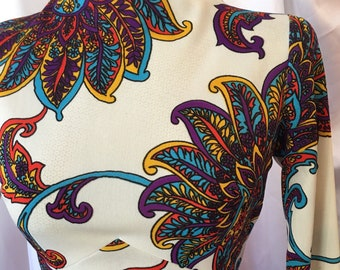 Vintage 1970s psychedelic maxi dress, free shipping !