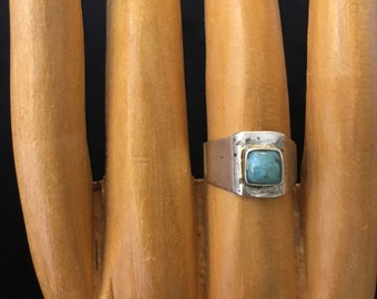 Sterling silver and Aquamarine pinky ring, midi ring , size 4 1/2, free shipping !