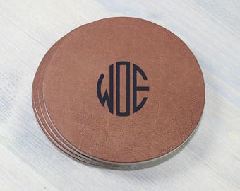 Custom Monogram Leather Coasters 4 Pack