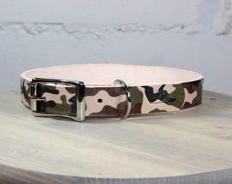 Camo Thick Leather Dog Collar