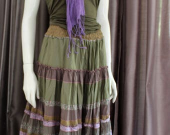 Midi  skirt from silk,cotton ,viscose,  pink and olive green  in boho style.