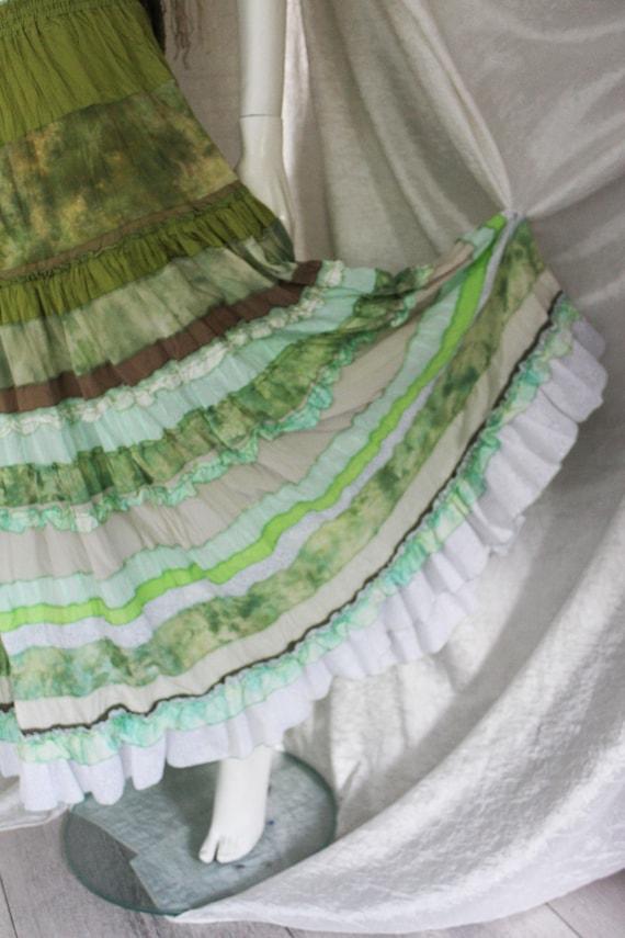 Olive summer Light green-olive silk maxi skirt in boho style.