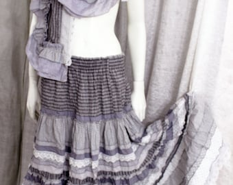 Maxi  gray  boho skirt with shall  from line and  cambric  .