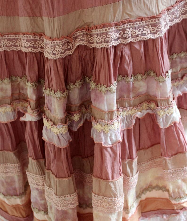 ROSE Pink-beige midi boho chic skirt