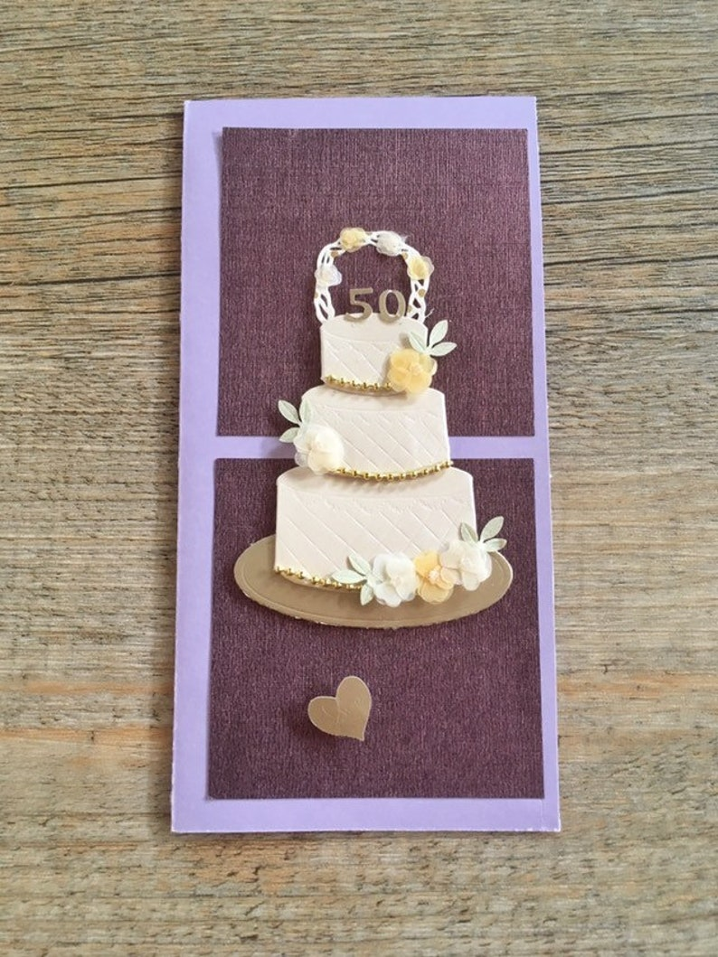 50th Wedding Anniversary Card Anniversary Card Wedding Cake Card Engagement Card Congratulations Card Purple Wedding Greeting Card Wedding
