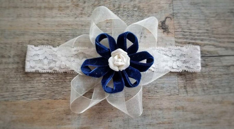 Flower Girl Headband Baby Headband Navy Blue and Cream Newborn  58d6ee4b0b0