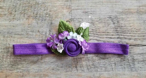 Flower Girl Headband Baby Headband Purple Newborn Headband  5073144211f