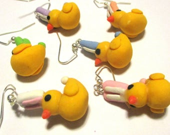 AFTER EASTER SALE! Handmade polymer clay Easter cute duckies with bunny ears earrings (available in hook earrings or clip ons)