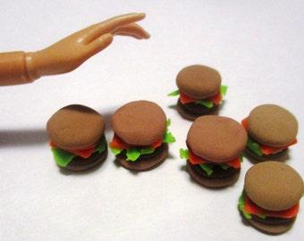 Handmade polymer clay miniature burgers dollhouse food 1:6 scale