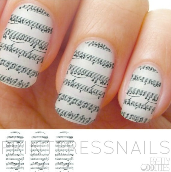 Music Notes Black and White Nail Strips Nail Art Nail Decal