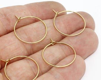 20mm Raw Brass Earring Hoops , Circle earrings, Raw Brass Ear Hoop , EAR24